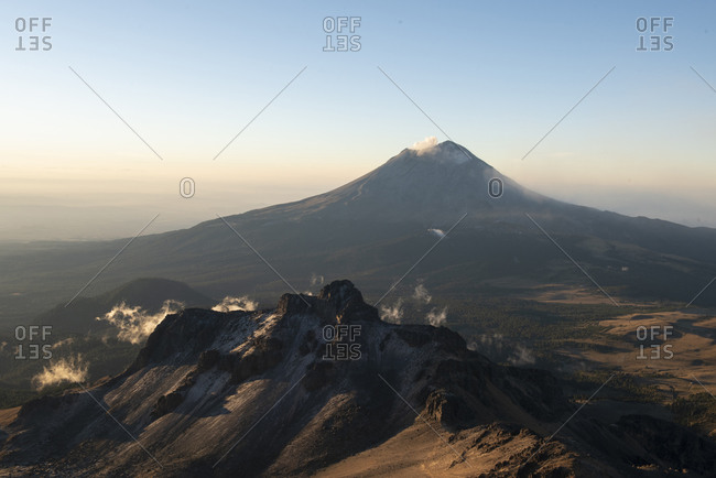 Popocatepetl volcano view from Iztaccihuatl in Mexico