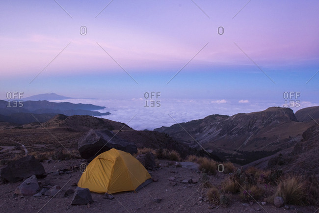 One tent at Pico de Orizaba base camp in Mexico
