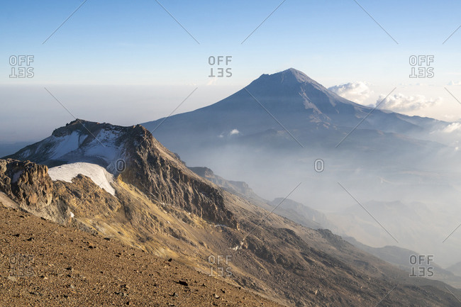 Popocatepetl volcano view from the summit of Iztaccihuatl volcano