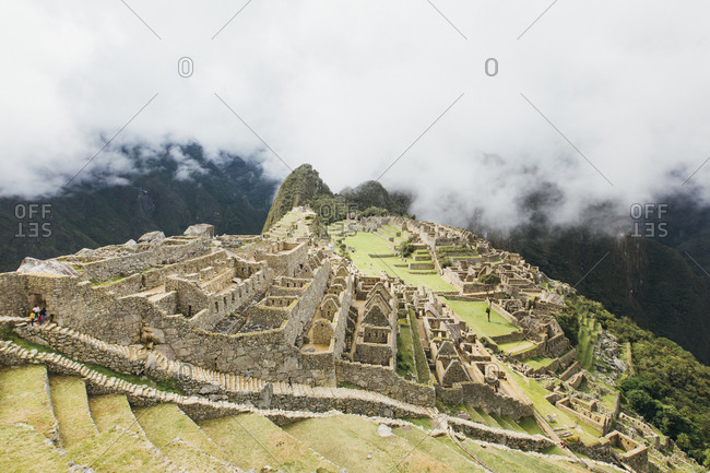 A view of Machu Picchu in the clouds, Peru