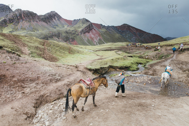 Local guides with horses are going down to the valley, Peru