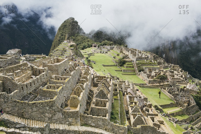 The famous ruins of the lost city of Machu Picchu, Peru
