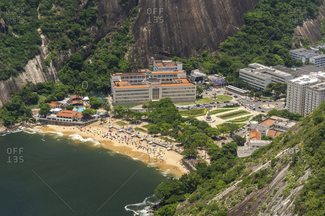 Rio de Janeiro, Brazil - January 6, 2020: Beautiful view from Sugar Loaf Mountain to green rainforest and beach