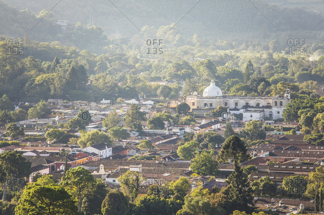 High angle view of Antigua, Guatemala.