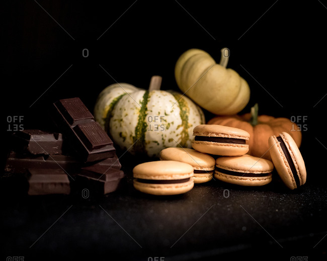 Pumpkin Chocolate Macarons with Chocolate Pieces and Mini Gourds
