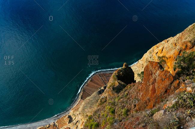 Aerial Ocean Landscape of Cliffside