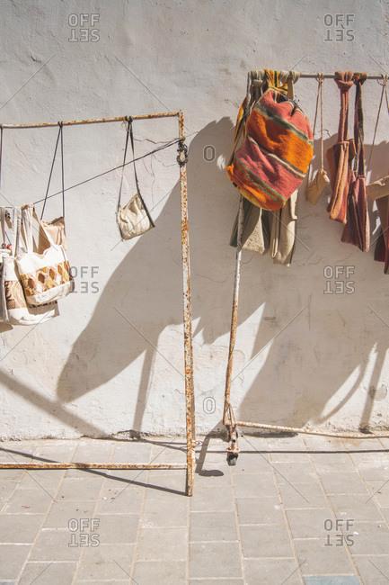Woven handbags for sale in the medina