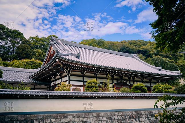 Kamakura, Kanagawa, Japan - August 29, 2019: Side view of a building at Engakuji Zen Temple