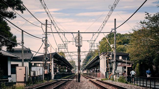 Kamakura, Kanagawa, Japan - August 29, 2019: Kamakura train station view from railway track