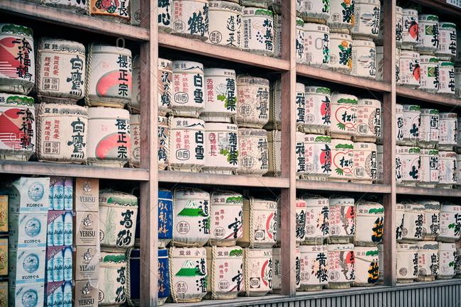 Kamakura, Kanagawa, Japan - August 29, 2019: Sake barrels as offer at Tsurugaoka Shrine