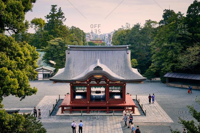 Kamakura, Kanagawa, Japan - August 29, 2019: Wooden building at Tsurugaoka Shrine