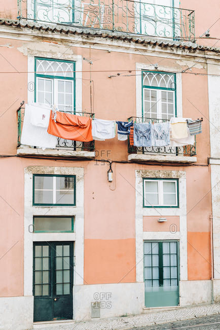 House in Lisbon with laundry hanging by the window