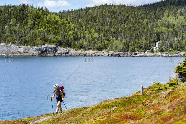 Female Backpacking Along East Coast Trail In Newfoundland