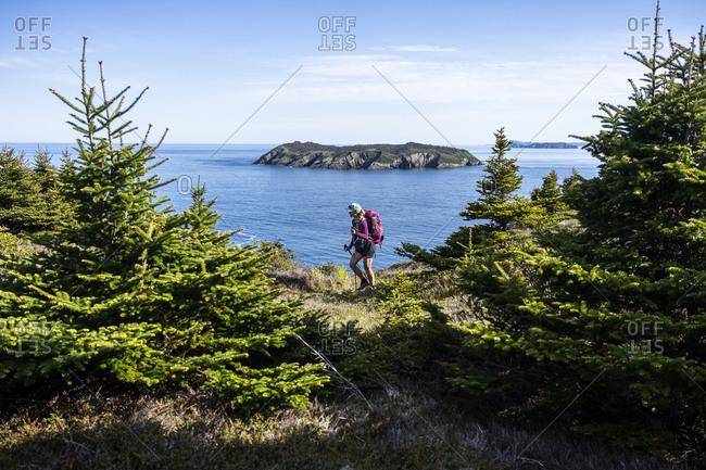 Female Backpacker On East Coast Trail With Gull Island In Background