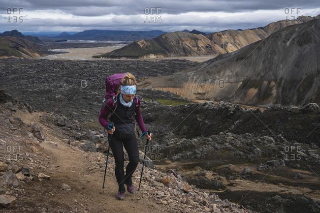 Female Backpacking On Laugavegur Trail Near Landmannalaugar Iceland