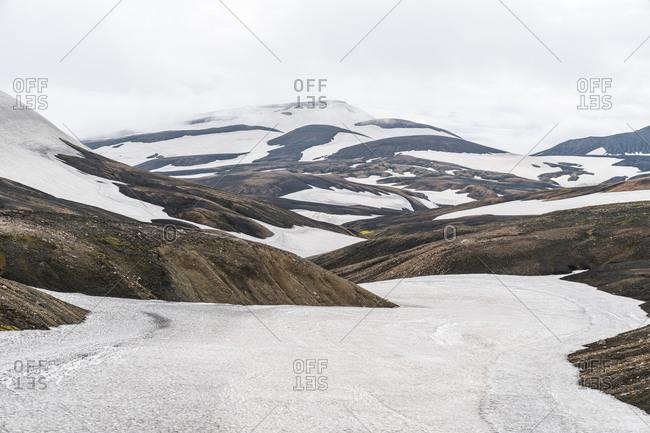 Snowfields Near Landmannalaugar In Iceland Highlands