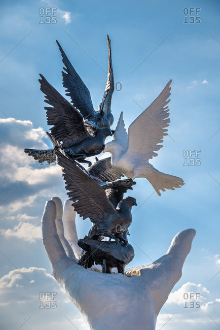 Turkey, Ayd�n, Kusadas� - July 18, 2019: Hand of Peace sculpture