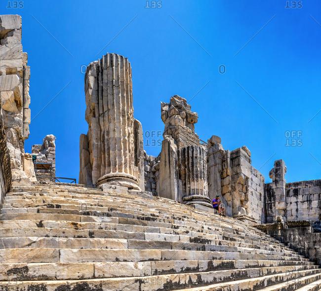 Turkey, Ayd�n, Didim - July 20, 2019: Broken Columns in the Temple of Apollo