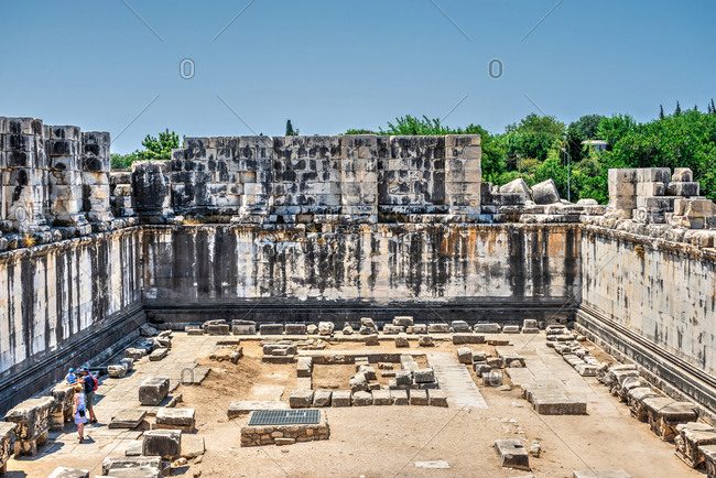 Ruins of the interior of the temple of Apollo at Didyma, Turkey