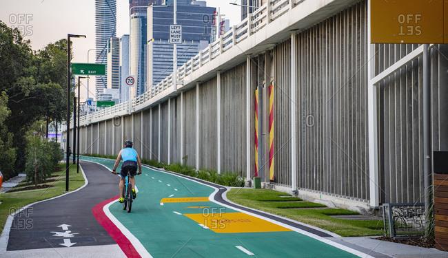 Cyclist exploring the bike lane's of Brisbane