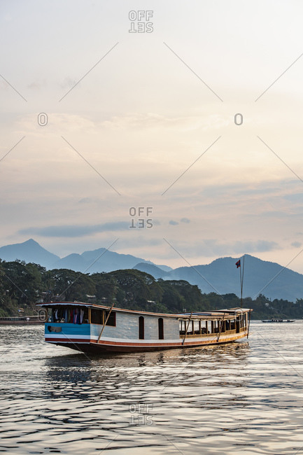 Boat on the Mekong river in Laos