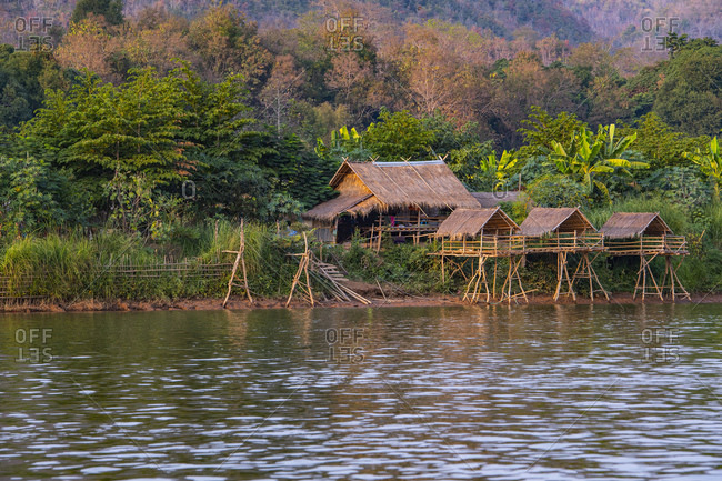 Simple house along the Mekong River in Laos