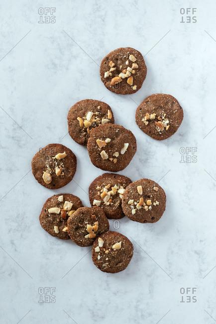 Overhead view of handmade cookies in the kitchen