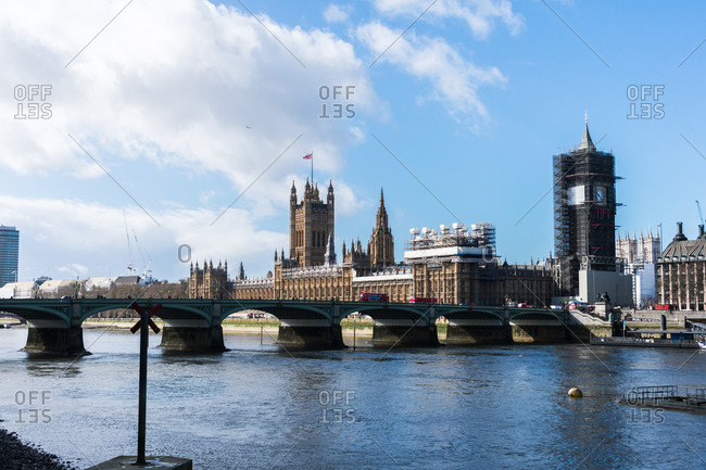 London, England, United Kingdom - March 12, 2020: Panoramic of the Westminster Palace, the Big Ben is under repair