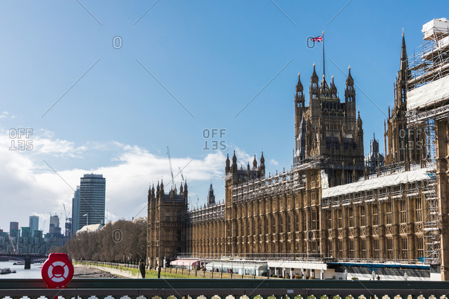 London, England, United Kingdom - March 12, 2020: Panoramic of the Westminster Palace in a sunshine day