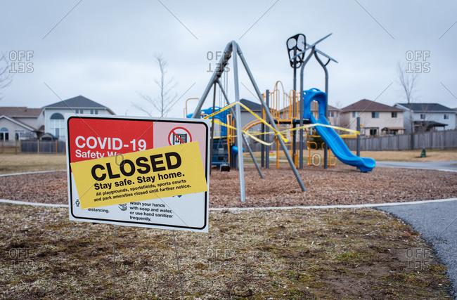 Neighborhood playground closed during Covid 19 pandemic.