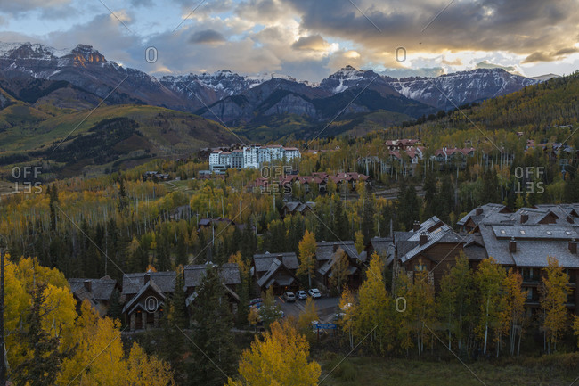 Mountains, hotels, and aspen at sunset above Telluride, Colorado