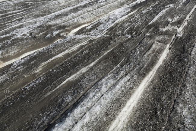 Annual snow layers on Snowbird Glacier, Talkeetna Mountains, Alaska