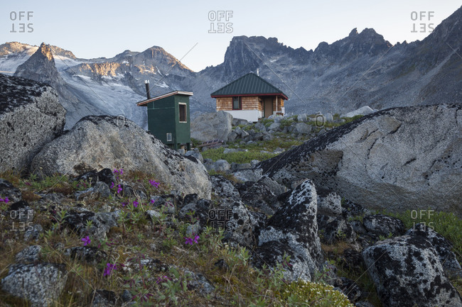Snowbird Hut and Snowbird Glacier, Talkeetna Mountains, Alaska