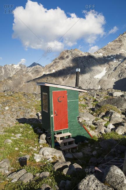 Backcountry outhouse of Snowbird Hut, Talkeetna Mountains, Alaska