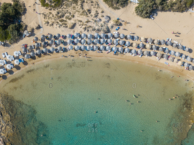 Beach in the Aegean sea from above, Greece