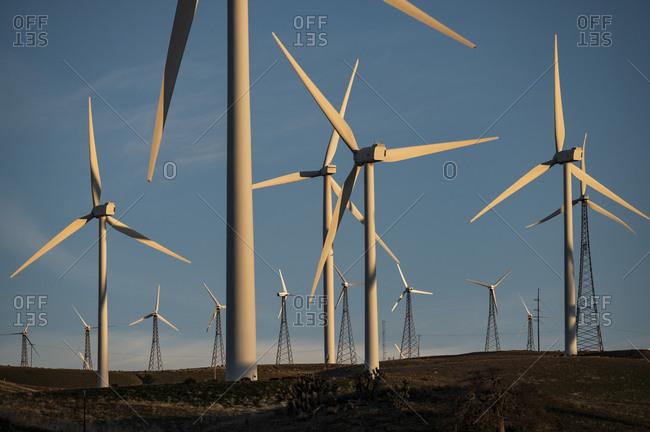 Windmills Dot the Mountainside near the Mojave Desert in Cali