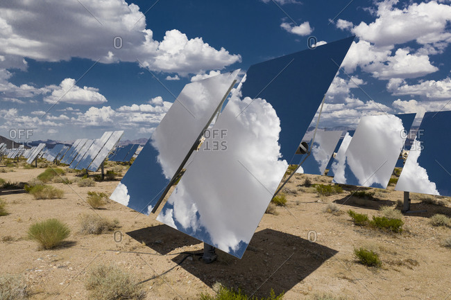 A massive solar array at the Ivanpah Generating station in the d