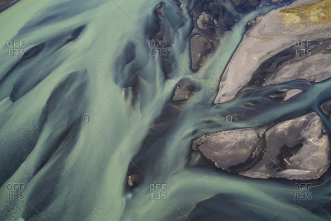 Aerial view of braided rivers in southern Iceland