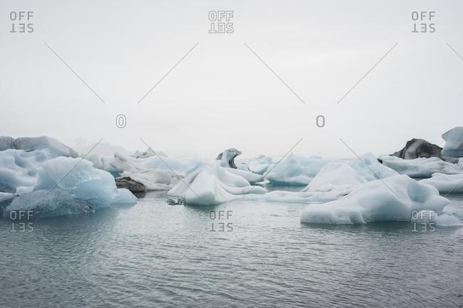 Jokulsarlon glacier lagoon at dusk