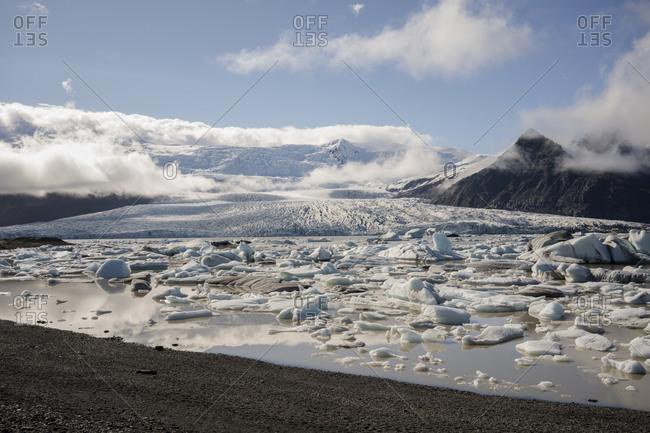 Jokulsarlon glacier lagoon with glacier in background