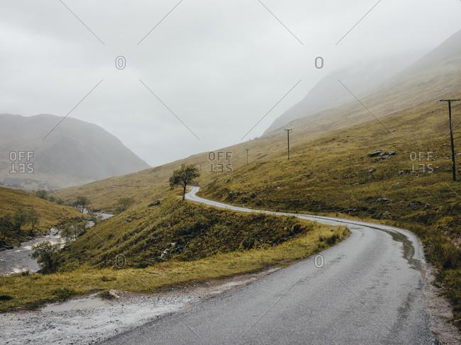 Road going through Glen Etive