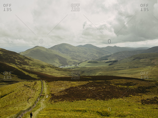 Rolling hills in Scottish countryside