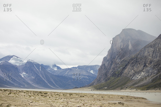 View of terrain in Akshayak Pass, Baffin Island.