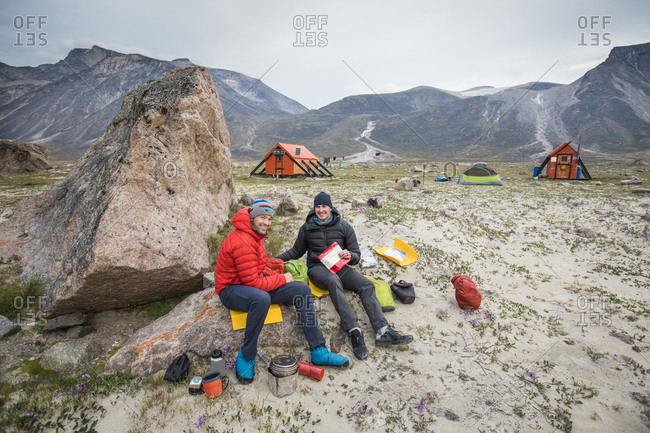 Climbers relax for a meal at June Valley,