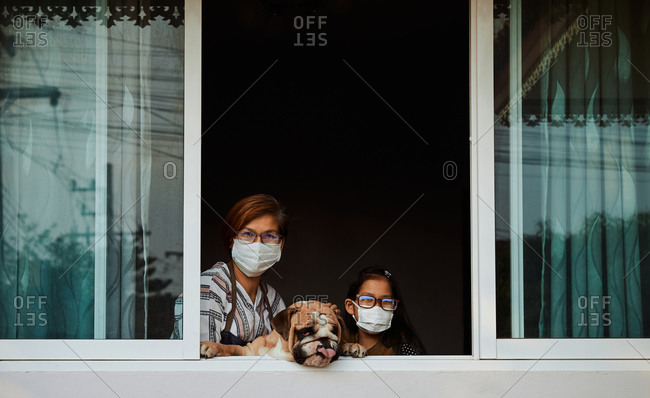 Mother and daughter with stay home during COVID-19 epidemic