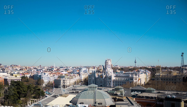 Spain, Madrid, cityscape with Alcala street.
