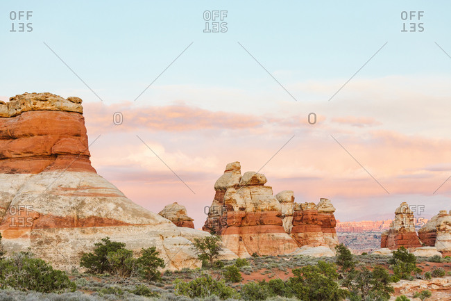Sunset at the Doll House in the Maze in canyonlands Utah