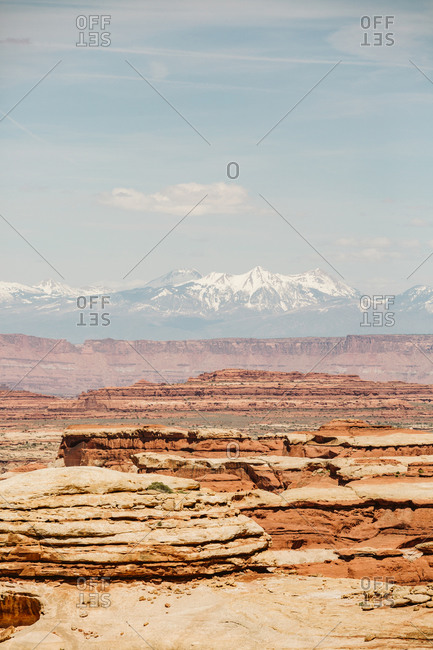 View of the maze canyonlands Utah with la sal mountains in distance