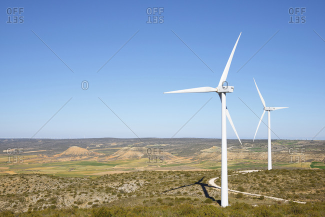 Windmills for electric power production in Spain.