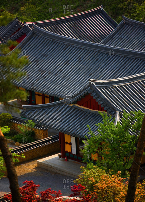 Sokcho-si, Gangwon-do, South Korea - May 8, 2011: rooftops of Buddhist temple in South Korea
